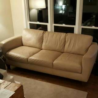 Italsofa Beige Leather Couch