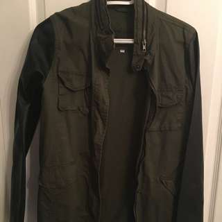 Khaki Army Green Jacket With Leather Sleeves