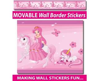 Princess and Unicorns Wall Border Stickers - Totally Movable