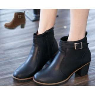 【全新】百搭側扣粗跟短靴 黑色 39號