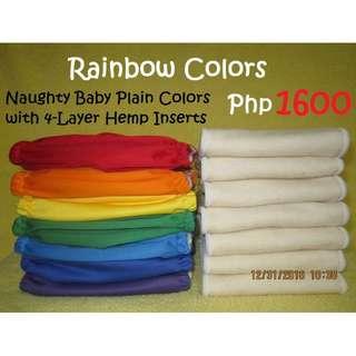Rainbow Colors Plain Cloth Diaper HEMP Package