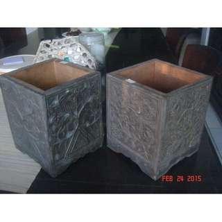 antique vintage repro Copper tin plant box (pair)