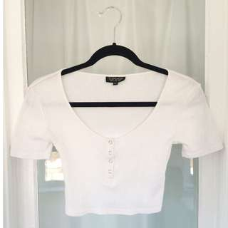 Topshop Cropped T-shirt With Snaps