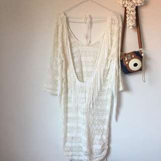 Spell Byron Bay White Crochet Low Back Dress