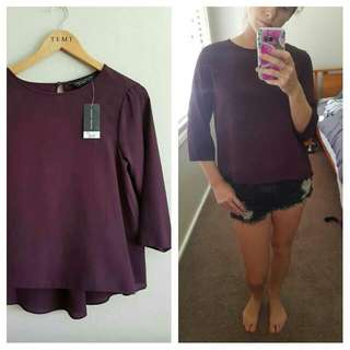 Maroon 3 Quarter Sleeve Top Size 10