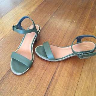 Spurr Khaki Green Heeled Sandals