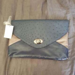 Portmans Navy And Silver Clutch Bag