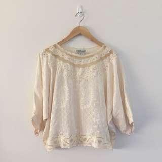 Cream Vintage Silk Top
