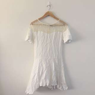 White Dress With Lace Detail - Size 8