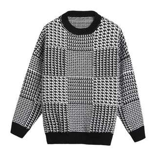 千鳥格紋寬鬆毛衣