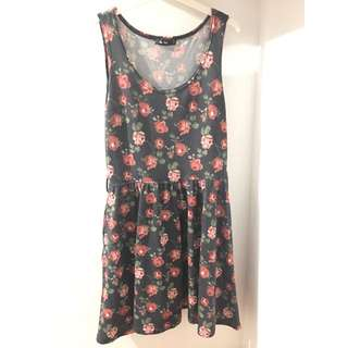 CHIC A BOOTI Gray Floral Rose Dress [Size M / 10]