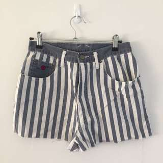 Vintage Striped High Waisted Shorts