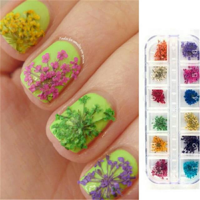 c531b609ee 12 Patterns/Box Nail Art 3D Decorations High Quality Dry Colorful Flowers  Beauty Nail Art Decorations