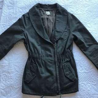 Khaki Denim Jacket (Comes With Attachable Fur)