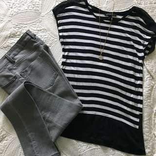 Mango Top - Black And White Strips, Size XS