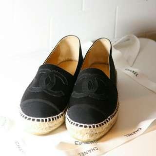 **Eurosnap歐洲精品**Chanel espadrilles 鉛筆鞋 黑色 緞面 秋冬新款 現貨 size:39