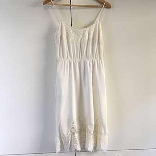 White Suede Silk Dress - Size 10 Ivory