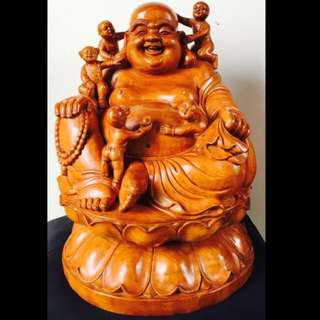 Laughing Buddha On Fragrant Wood