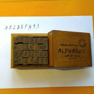 Handwriting Alphabet Uppercase Stamp Set 28pcs with free black ink stamp