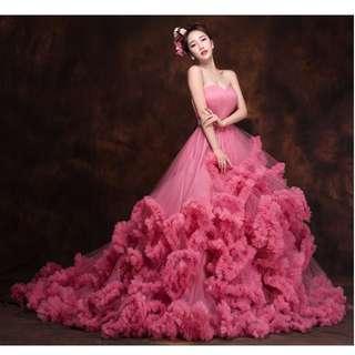 Debut,wedding  long trailing shoulders sexy   dress