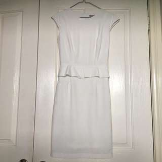Forcast White Peplum Corporate Dress- Size 4