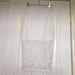 Forcast White Lace Midi Skirt - Size 4