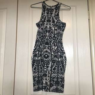 H&M Black And White Fitted Cotton Dress- Size Small