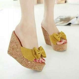 Sandal Wedges Pita Murah TB-1113 Kuning