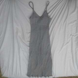 Ninie Stripe Midi Dress Side Split Sz S
