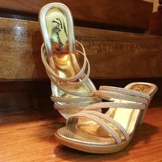 Floche Gold Heels