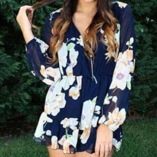 NEGOTIATEReverse Navy Floral Playsuit