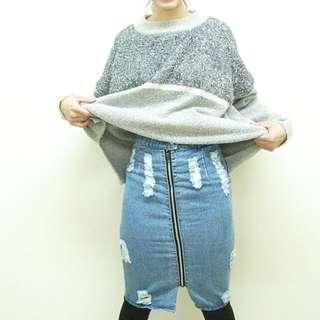 🚚 牛仔包臀前拉鍊窄裙
