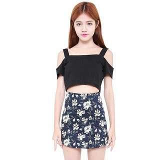 BN Navy Floral Skirt (Pending, Neoncooky)