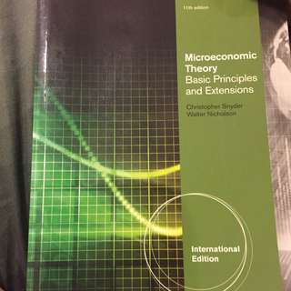 Microeconomic Theory Basic Principles And Extensions By Christopher Snyder and Walter Nicholson