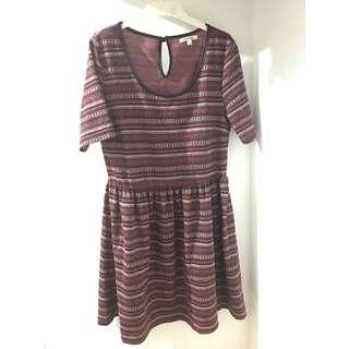 VALLEYGIRL Aztec Tribal Pattern Stripe Dress [Size L / 12 ]