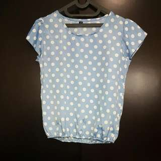 Baby Blue Polkadot Top