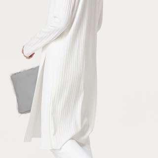 nude連線白針織長版上衣