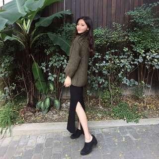 韓國高領針織毛衣 綠