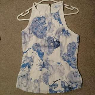 Size S Floral Summer halter, cut out back detail top