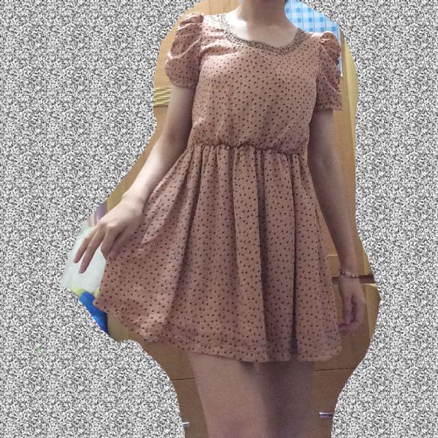 橘色紡紗洋裝