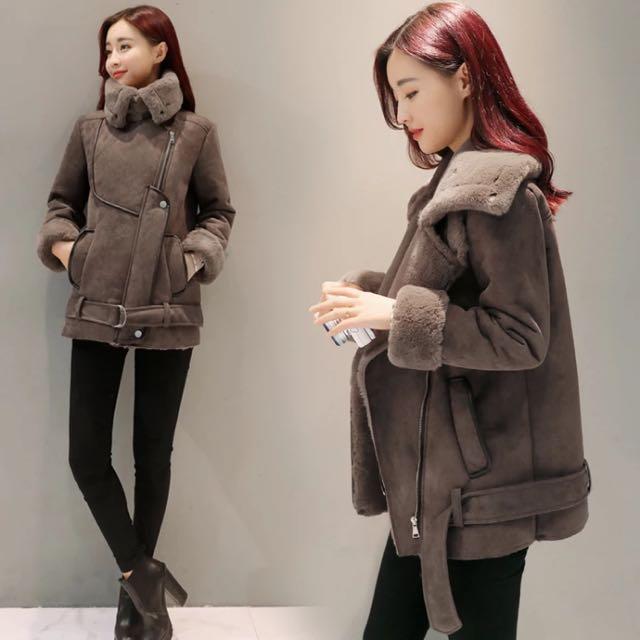 韓國超厚麂皮羊羔毛機車外套