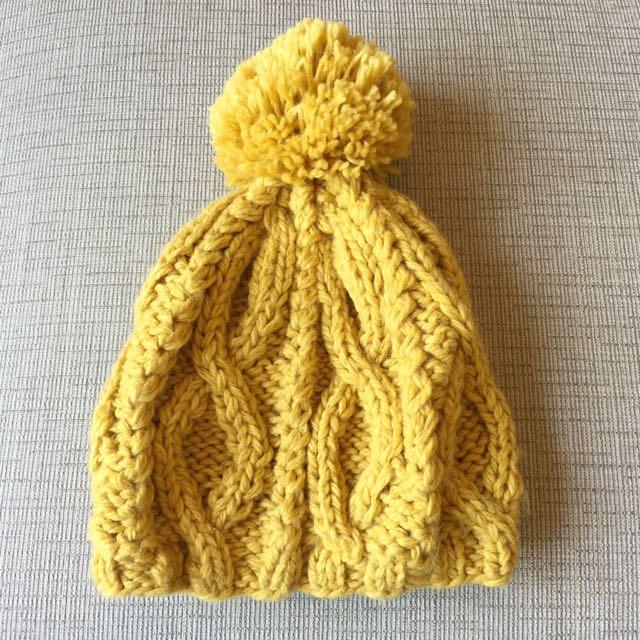 (免運)大毛球 毛帽/針織帽 -芥末黃