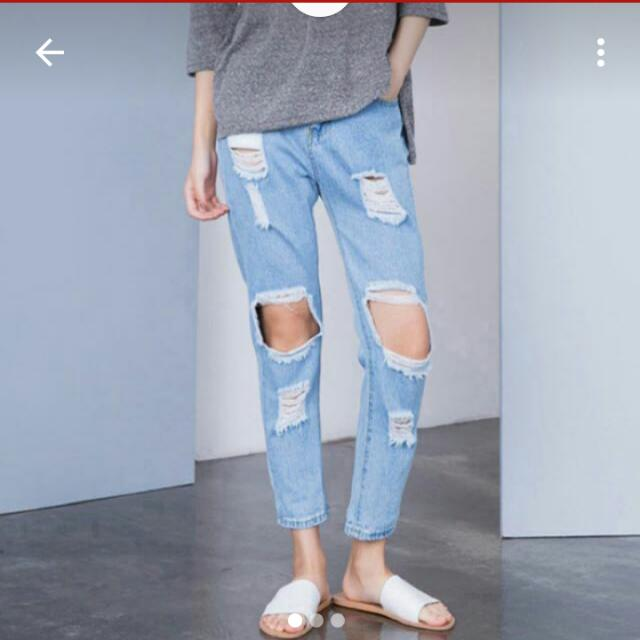 刷破 膝蓋 牛仔褲