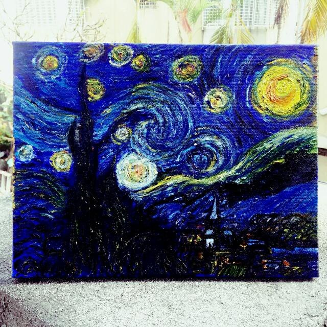 梵谷 星夜 經典 油畫 自翻