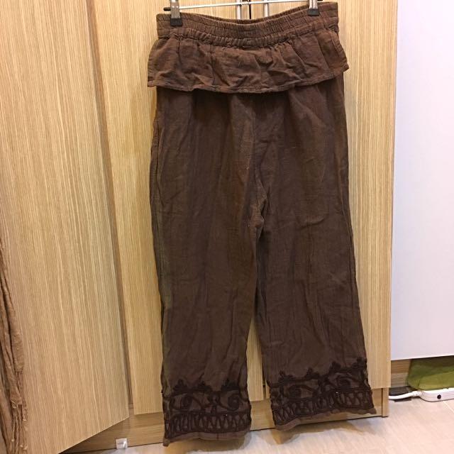 印度製 高質感 棉麻 刺繡 長褲 民族風