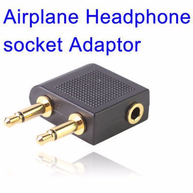 ★★ Airplane Inflight Travel STEREO Headphone Earphone Jack Audio Adapter Converter 3.5mm to 2x3.5mm ★★ High Quality ★★ Gold Plated ★★