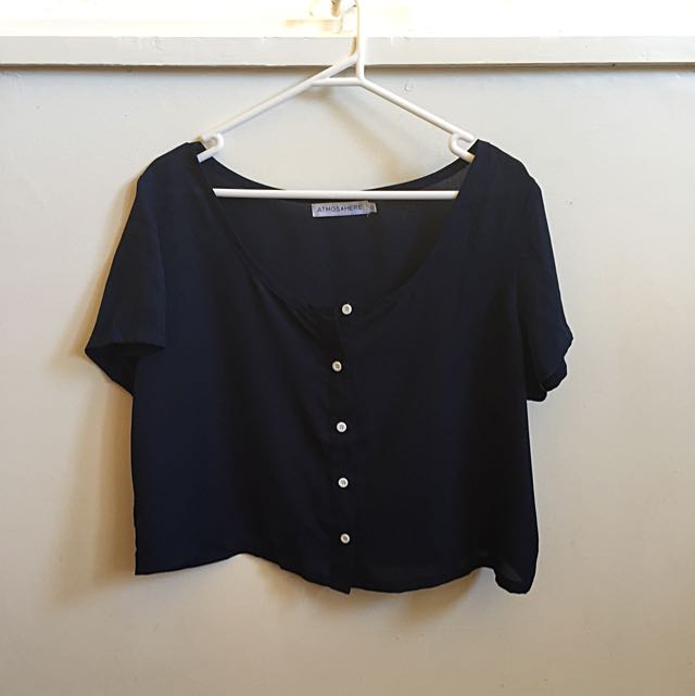Atmos & Here Navy Cropped Sheer Tshirt