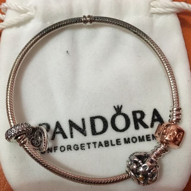 Authentic Pandora Rose Gold Clasp With 2 Charms