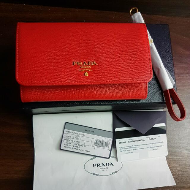 32f37bd0aabb authentic Prada 1M1438 wristlet wallet bag, Luxury, Bags & Wallets ...