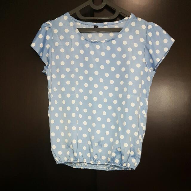 Baby Blue Polkadot Top